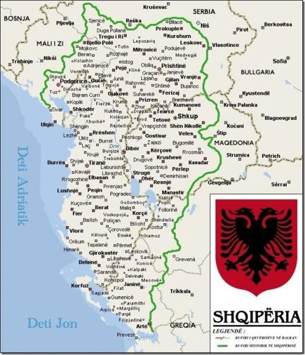 velika albanija mapa